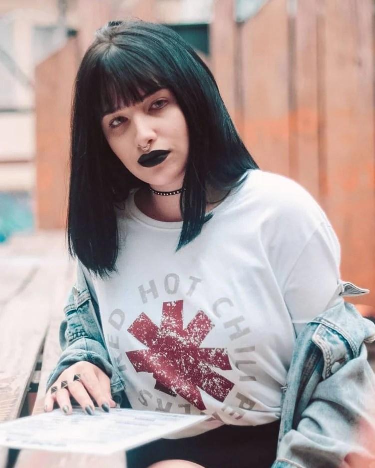 Cabelo preto - Franjinha em cabelo médio blunt bob Mayara Pereira
