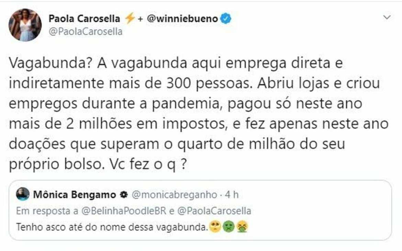 Paola Carosella discute no Twitter
