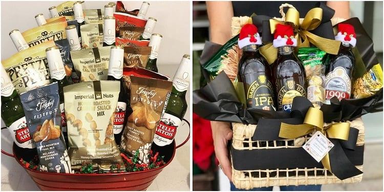 duas opções de cestas de Natal com cervejas e aperitivos