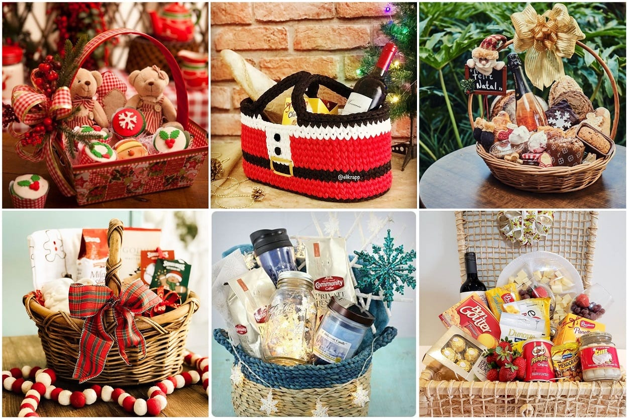 seis opções de cesta de Natal feita em casa