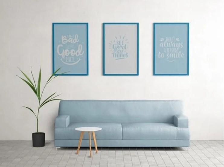 Decoração minimalista azul