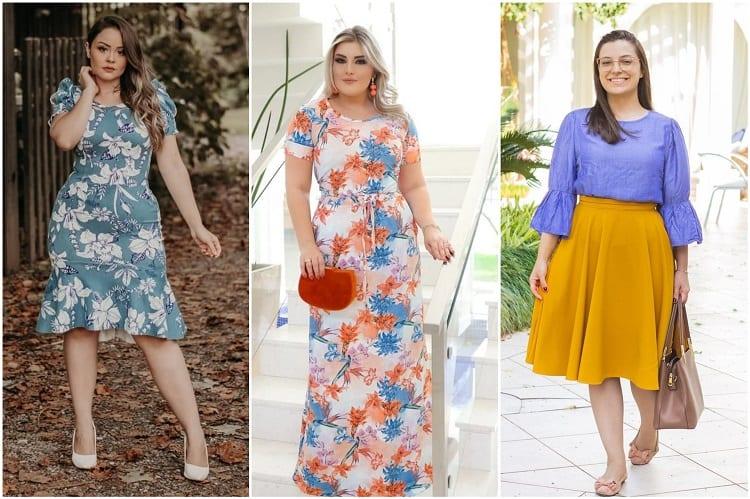 três mulheres usando as tendências vestidos floridos e saia godê