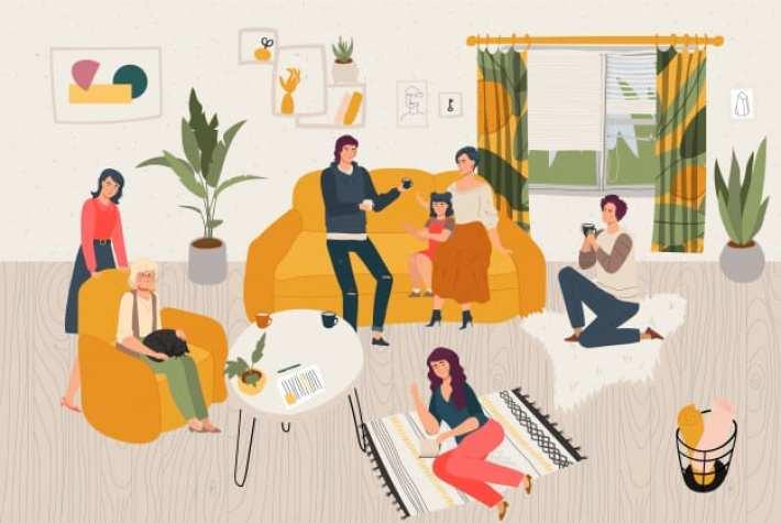 Família grande concentrada na sala de estar, desenho.