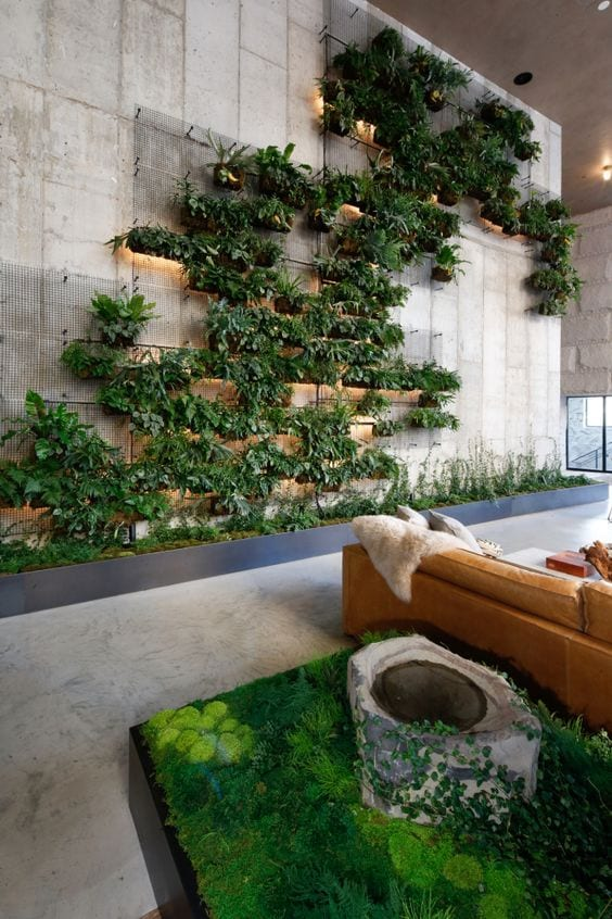 Jardim vertical na sala