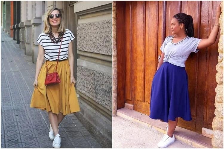duas mulheres usando saia godê e tênis