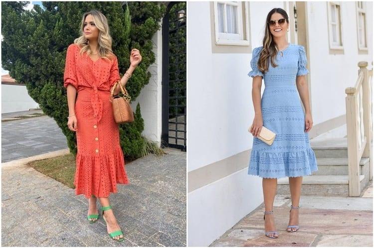 duas mulheres usando vestidos de laise, tendência na moda evangélica 2021