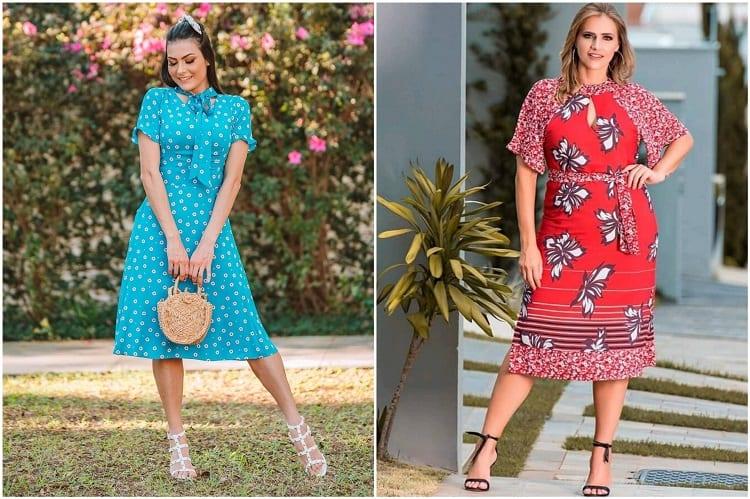 duas mulheres com vestidos floridos, tendência da moda evangélica 2021