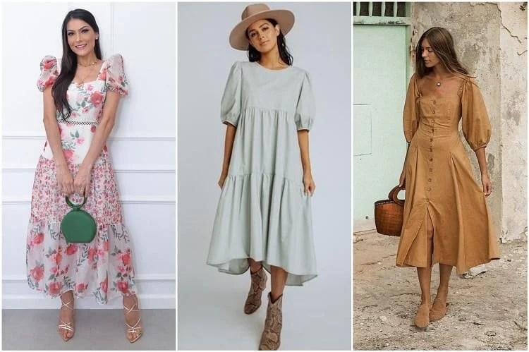 três vestidos com mangas bufantes da moda evangélica 2021