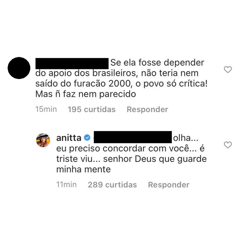 Anitta e seguidora trocam comentários.