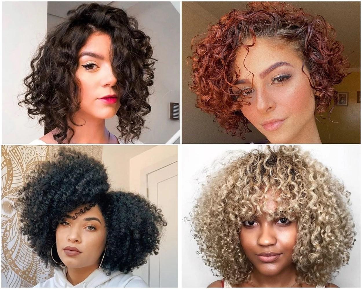 quatro imagens de mulheres com cabelo cacheado curto