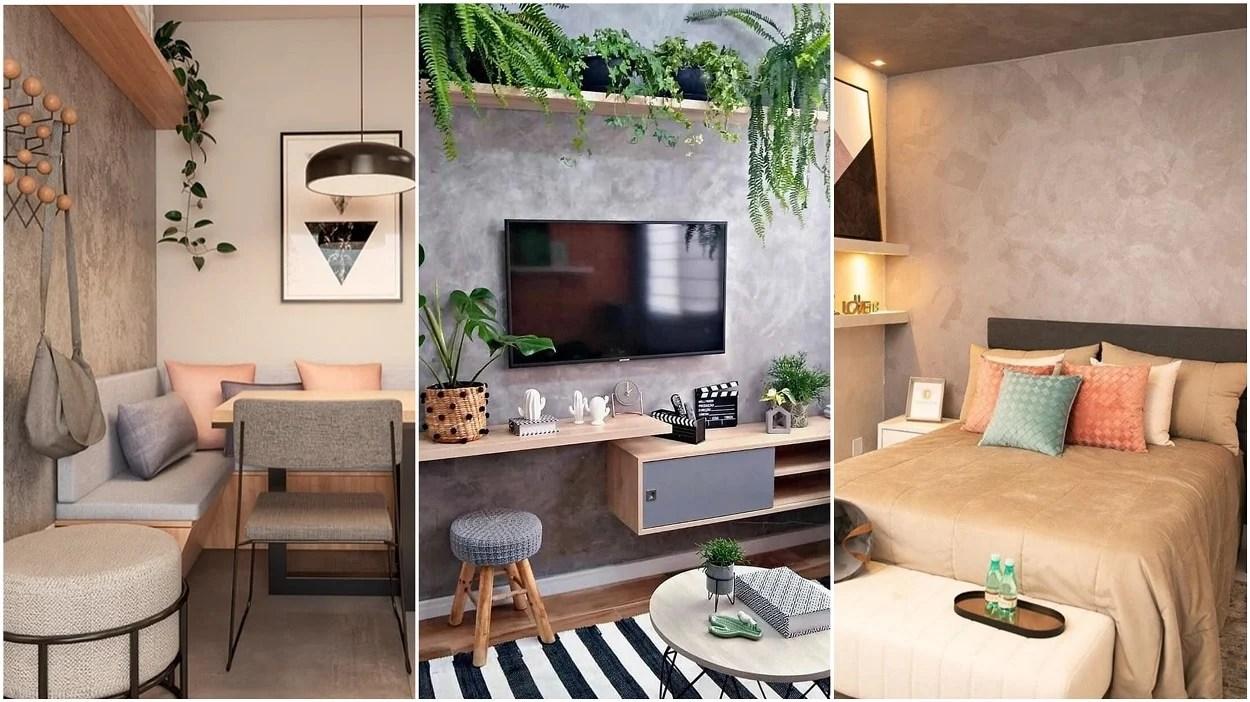 sala de jantar, sala de estar e quarto com parede de cimento queimado