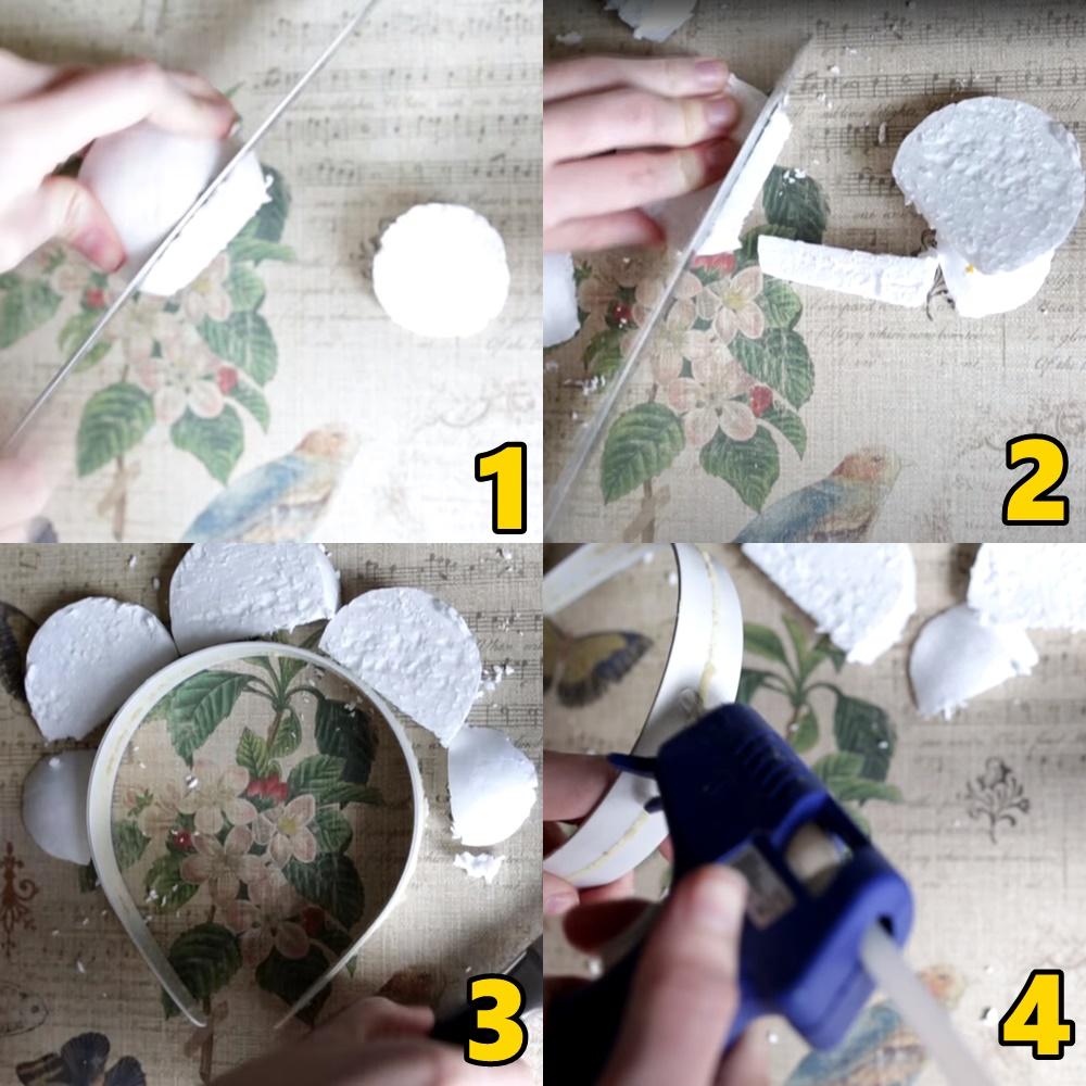 Primeiros passos para produção de tiara de sereia.