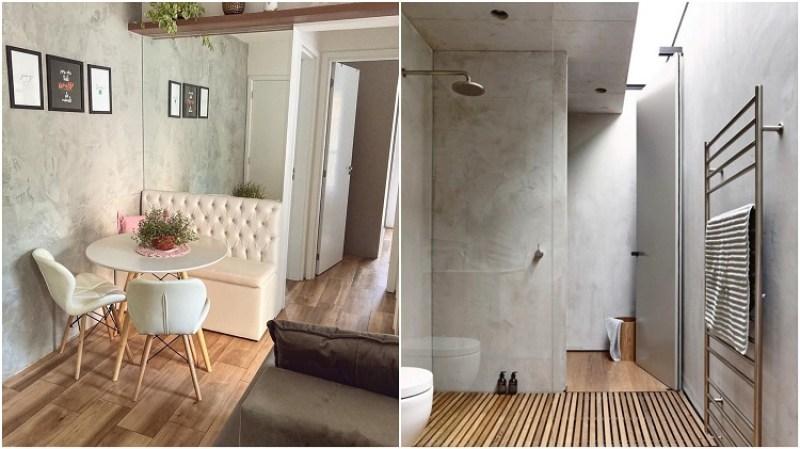 sala de jantar e banheiro decorados com madeira