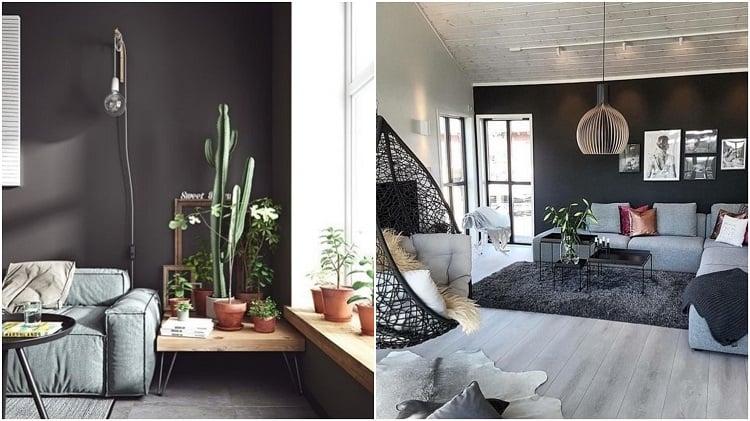 salas com parede preta