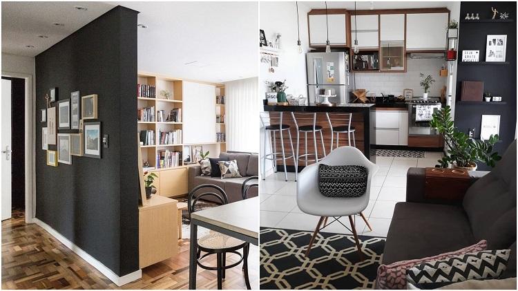 duas fotos de salas integradas