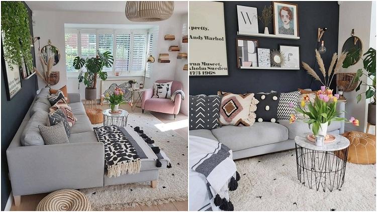 duas salas com decoração delicada
