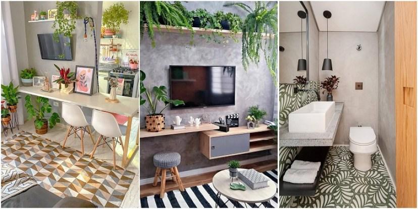 duas salas e um banheiro decorados com estampas