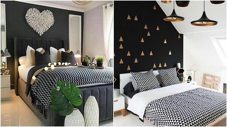 dois quartos com roupa de cama geométrica