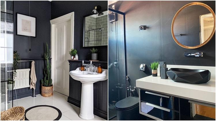 dois banheiros com paredes pretas