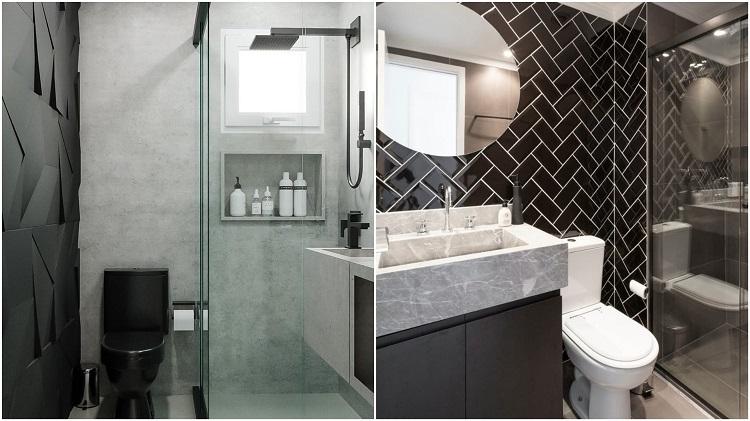 banheiro com paredes geométricas