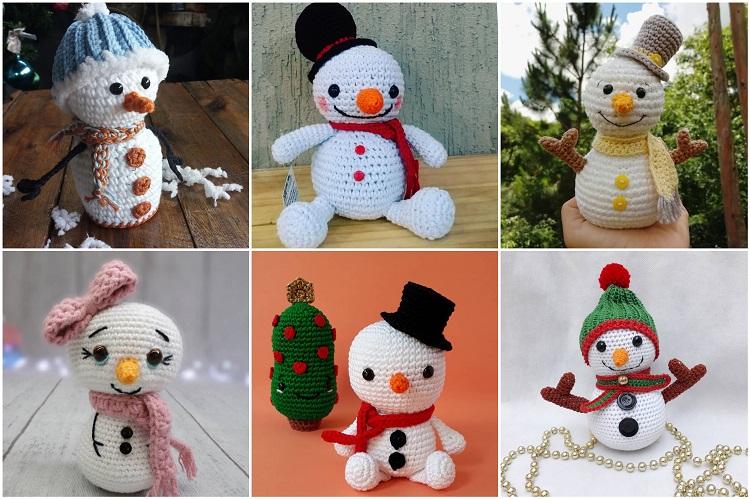 bonecos de neve feitos de crochê