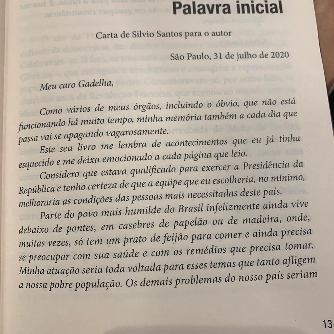 Carta redigida por Silvio Santos.