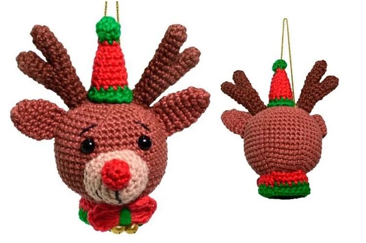 cabeça de rena em amigurumi de Natal