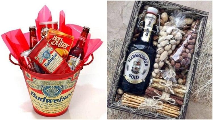 duas cestas de petiscos e cerveja