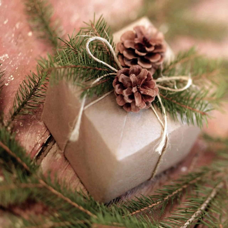 Decoração de presentes com pinha.