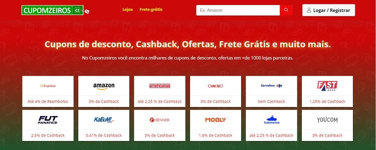 página inicial do site Cupomzeiros