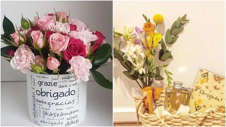 dois arranjos de flores
