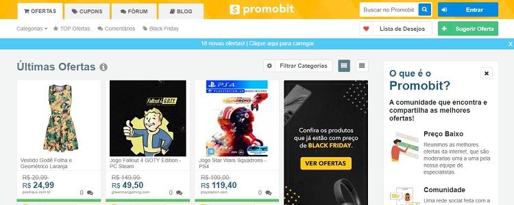 Página inicial do site Promobit
