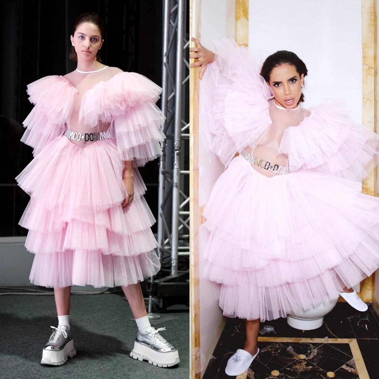 Cantora Anitta usando vestido rosa bebê da Dominnico.