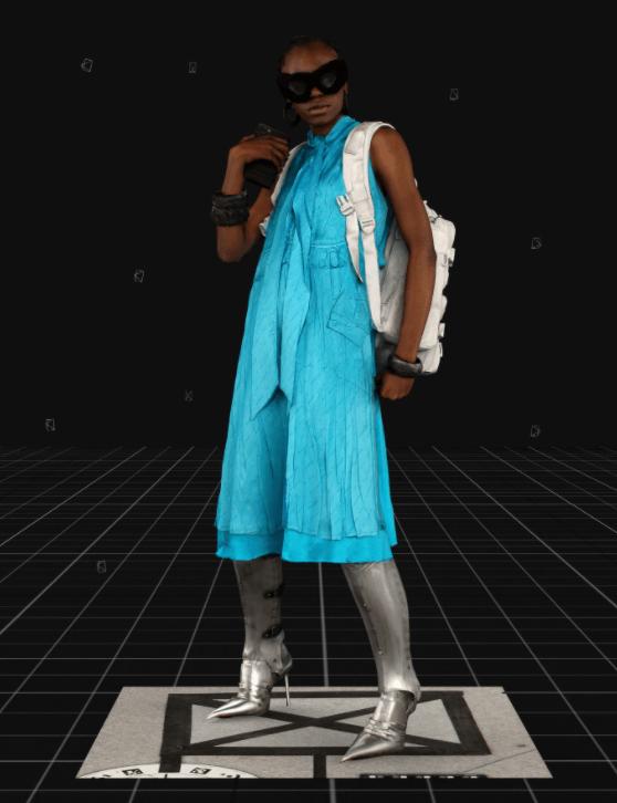 Modelo usa vestido azul e mochila branca