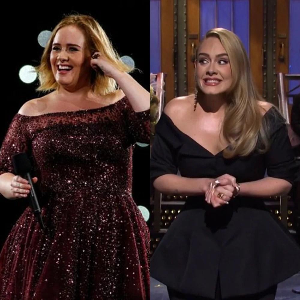 Antes e depois do álcool: Adele.