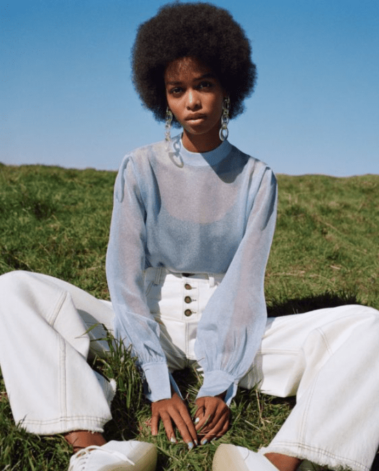 Looks de ano novo: Blusa manga comprida transparência azul