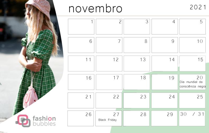 Calendário Fashionista 2021 - Novembro