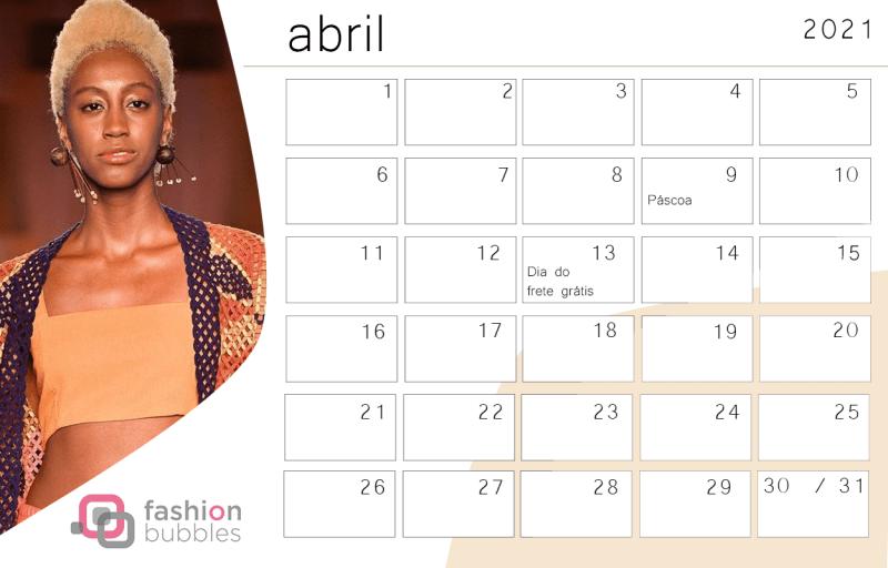 Calendário Fashionista 2021 - Abril