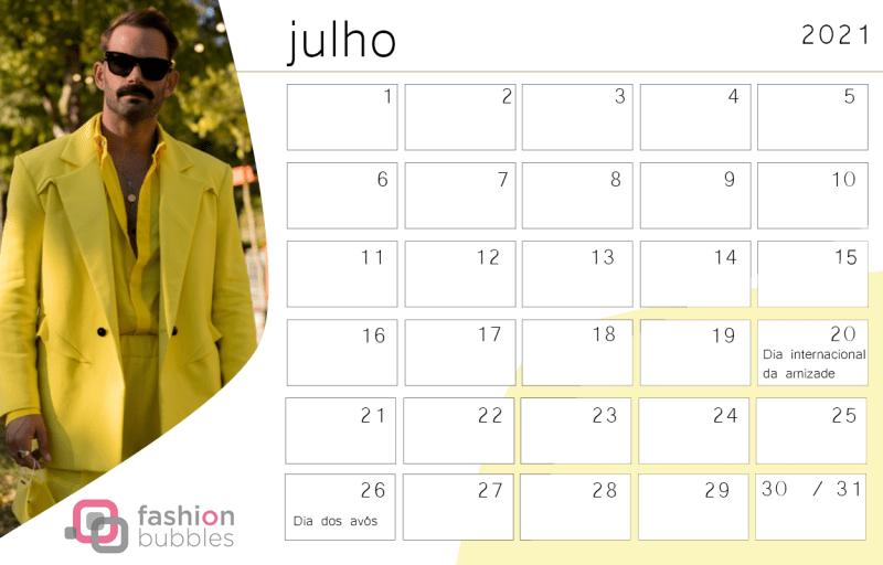 Calendário Fashionista 2021 - Julho