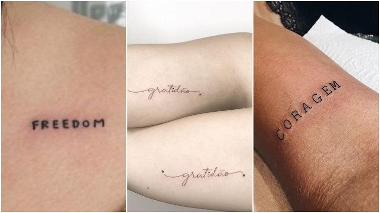 três palavras tatuadas