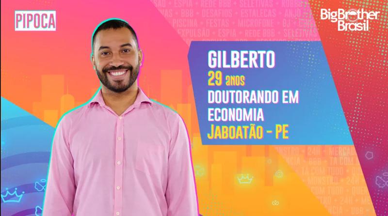 Na foto, aparece Gilberto, participante do BBB 21.