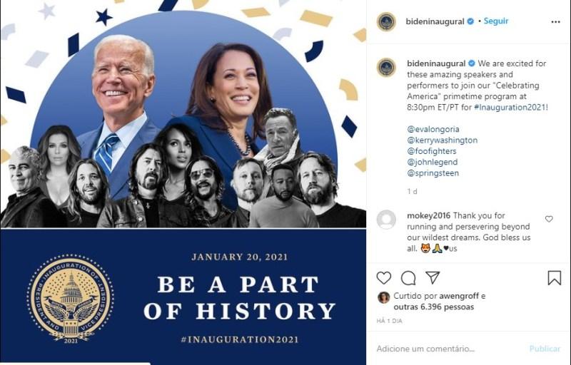 Publicidade do evento de inauguração do governo Joe Biden e Kamala Harris.