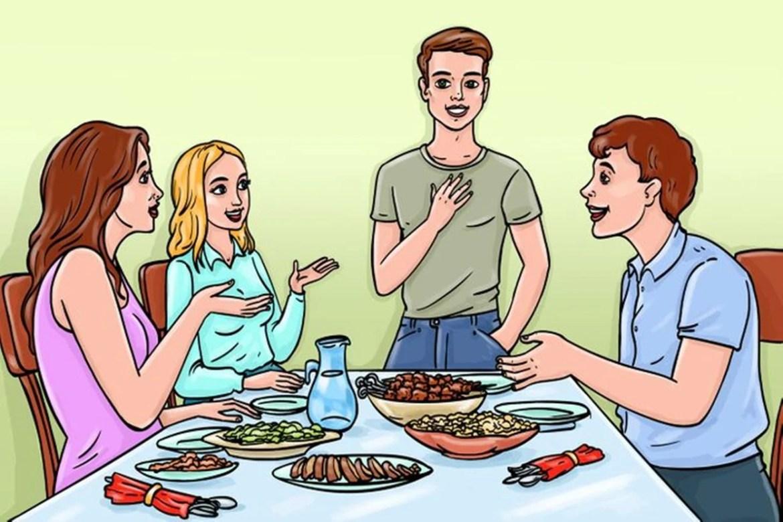 Regras de etiqueta simples: Espere o anfitrião se sentar para começar a comer, imagem ilustrativa.