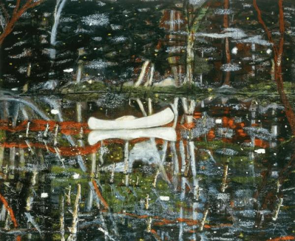 Quadro Canoa branca do artista Peter Doig, colaborador da Dior Homme inverno 21