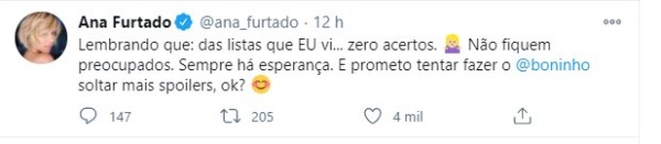 Ana Furtado diz que possíveis listas de participantes não condizem com os famosos do BBB21 que ela ficou sabendo - Reprodução