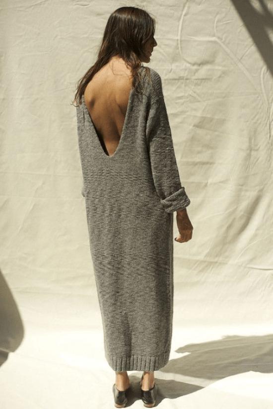 Túnica de tricô com decote costas