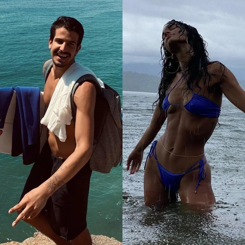 Suposto casal Bruna Marquezine e Enzo Celualri na praia.