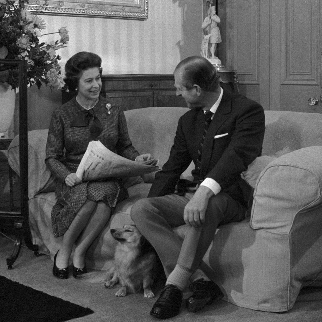 Duque de Edimburgo e Rainha Elizabeth II - Foto Antiga.