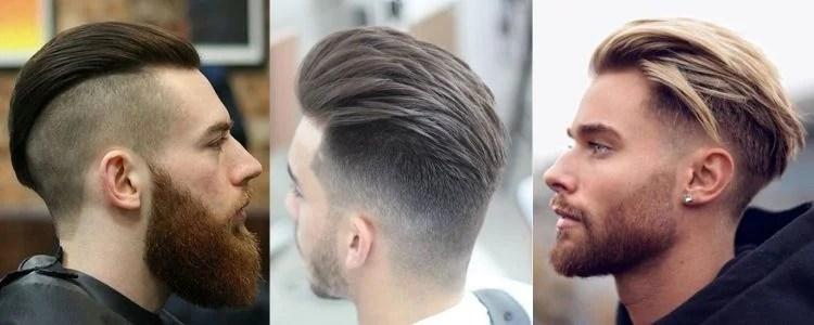três opções de slicked back hair