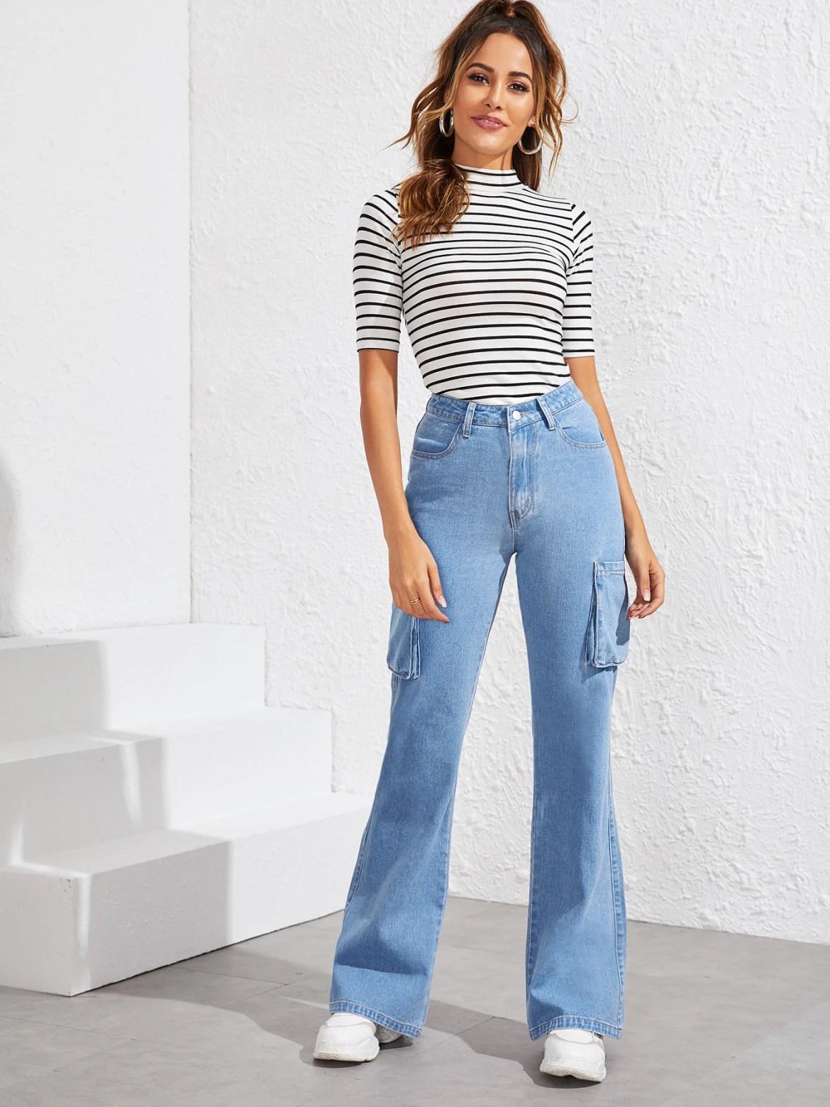 Combinações com jeans confortáveis, gola alta.